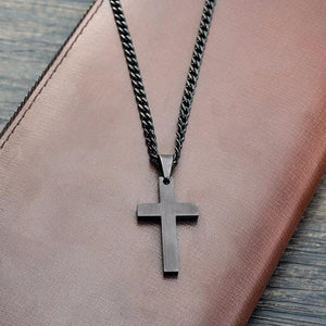 Cross Stainless Steel Black Color Pendant Necklace - Odacali Bracelets