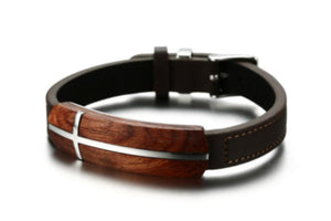 Vnox Retro Rosewood Genuine Leather Bracelet - Odacali Bracelets