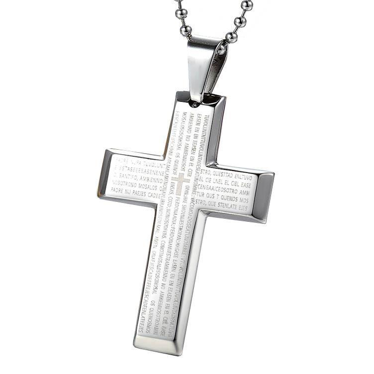 Stainless Steel Cross Pendant Silver Necklace - Odacali Bracelets