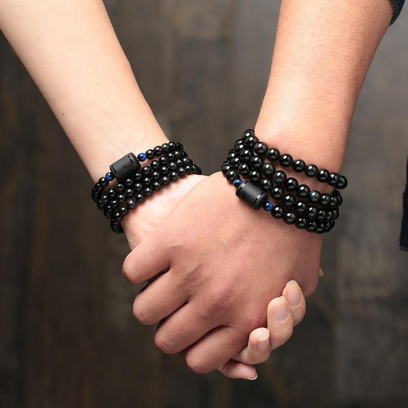 Black Stone Obsidian Beads Multilayer Couples Bracelet - Odacali Bracelets