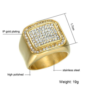 Micro Iced Out Bling Titanium Stainless Steel Ring - Odacali Bracelets