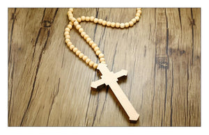 Jesus Cross Wood Beads Necklace