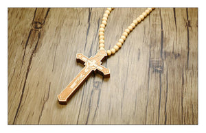 Jesus Cross Wood Beads Necklace - Odacali Bracelets