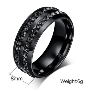 Unisex Titanium Steel Ring Men Women Wedding Band Silver Gold Size Black - Odacali Bracelets