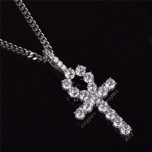 Iced Zircon Ankh Cross Pendant Necklace - Odacali Bracelets