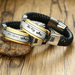 King & Queen Genuine Leather Couples Bracelets - Odacali Bracelets