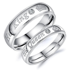 "New Design ""His Queen"" & ""Her King"" Stainless Steel Couple Rings - Odacali Bracelets"