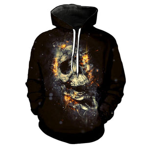 3D Men Melted Skull Full Print Novelty Pullover Hoodies - Odacali Bracelets