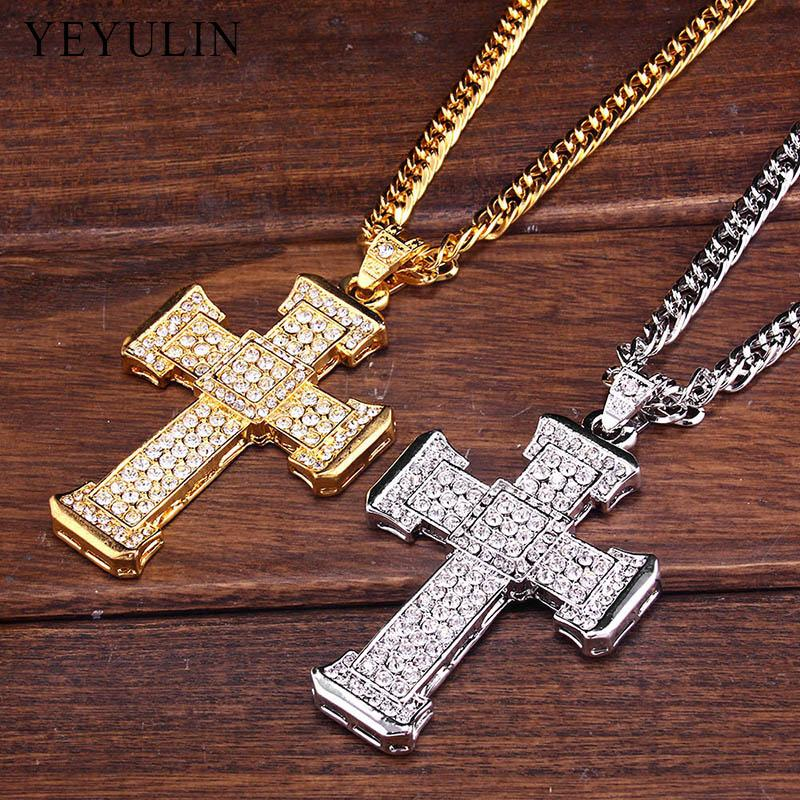 Trendy Full Crystal Cross Pendant Necklace - Odacali Bracelets