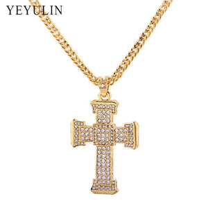 Trendy Full Crystal Cross Pendant Necklace