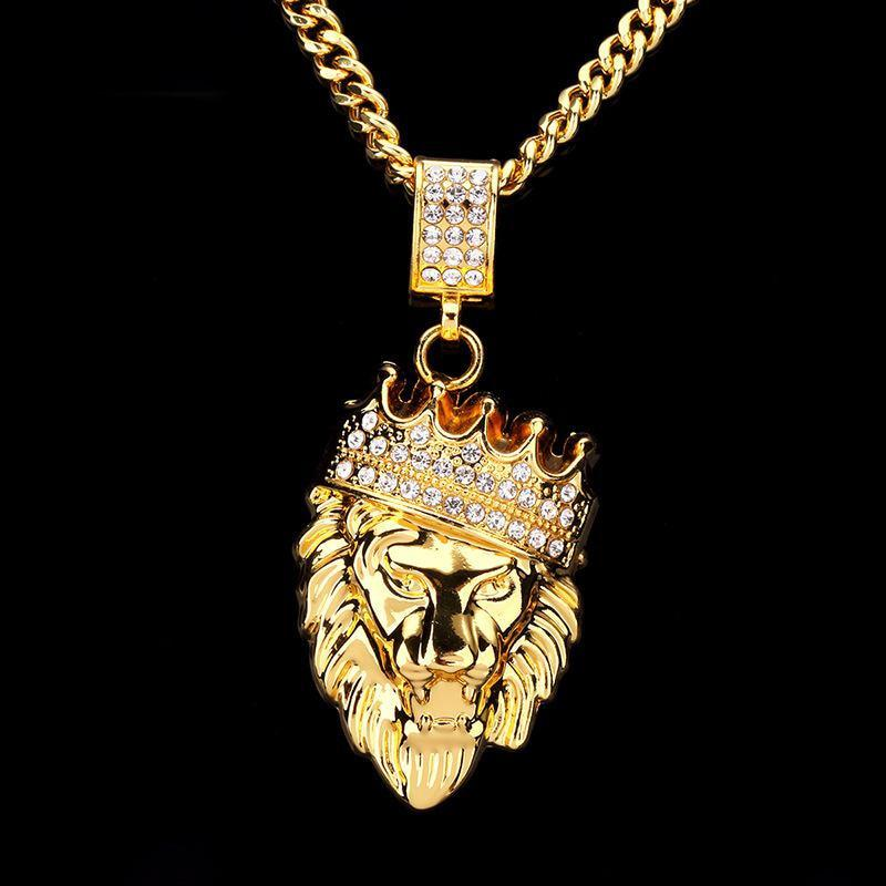Gold Fashion Bling Lion Head Pendant Necklace - Odacali Bracelets