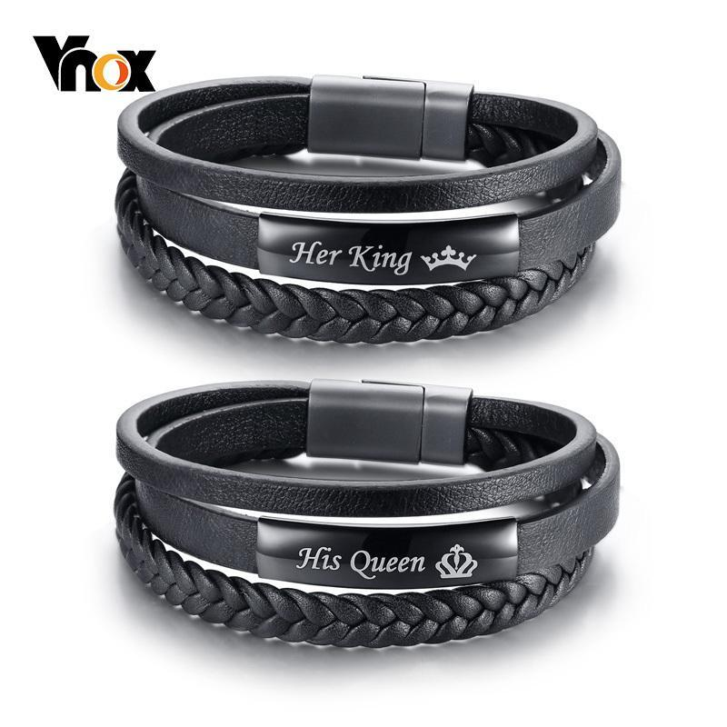 His Queen Her King Couple Multilayer Leather Bracelets - Odacali Bracelets