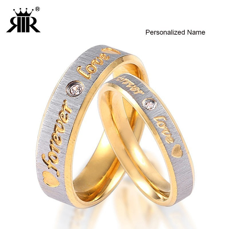 RIR Custom Name Gold Forever Love Wedding Rings Couple Eternity Engagement Heart and Crystal Men Women Ring In Stainless Steel