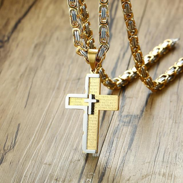 Byzantine Cross Stainless Steel Pendant Chain Necklace - Odacali Bracelets