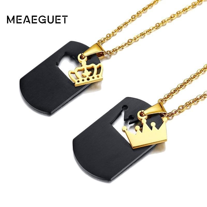 731062c13a9 Customized Queen King Pendant Couples Necklace - Odacali Bracelets