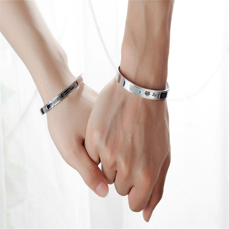Royal Couple Stainless Steel Bangle Bracelets - Odacali Bracelets