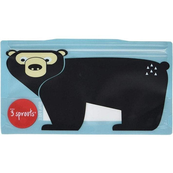 3 Sprouts Reusable Snack Bags 2 Pack Bear 3 Sprouts Reusable Snack Bags