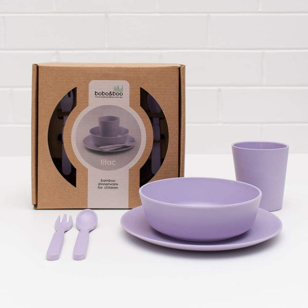 Bobo & Boo bamboo 5 piece dinner set Lilac Purple Bobo & Boo Mealtime Set