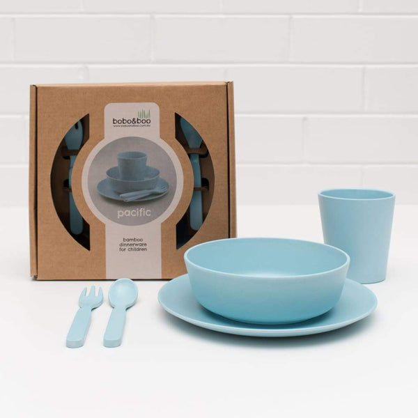 Bobo & Boo bamboo 5 piece dinner set Pacific Blue Bobo & Boo Mealtime Set