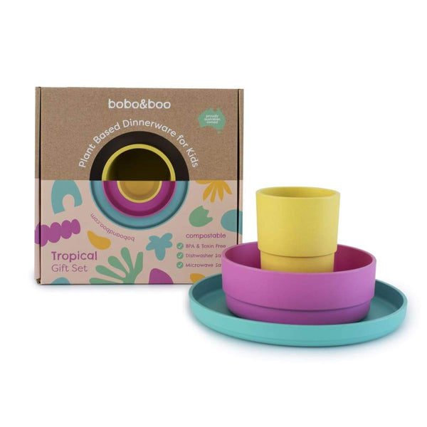 Bobo & Boo Plant Based Dinnerware Set Tropical Bobo & Boo Mealtime Set