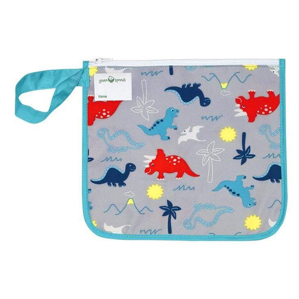 Green Sprouts Reusable Insulated Sandwich Bag Aqua Dinosaurs Green Sprouts Reusable Snack Bag
