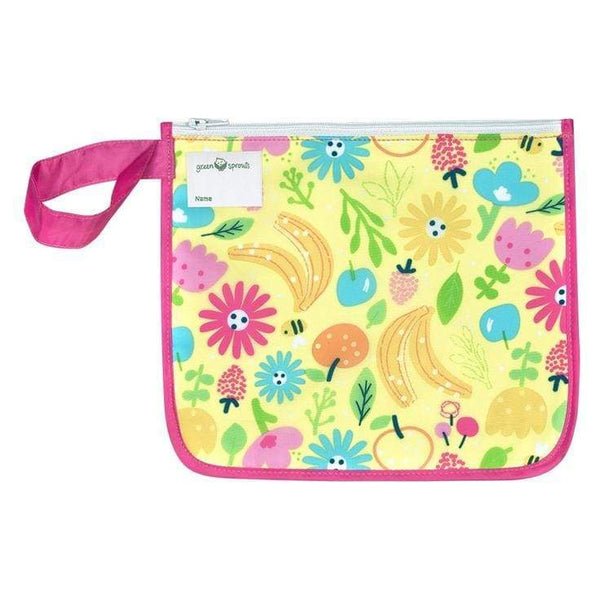 Green Sprouts Reusable Insulated Sandwich Bag Pink Bee Floral Green Sprouts Reusable Snack Bag