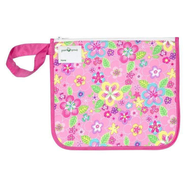 Green Sprouts Reusable Insulated Sandwich Bag Pink Flower Field Green Sprouts Reusable Snack Bag