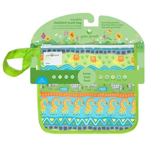 Green Sprouts Reusable Insulated Sandwich Bag Green Safari Green Sprouts Reusable Snack Bag
