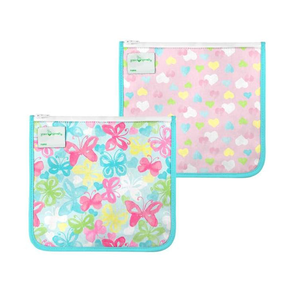 Green Sprouts Reusable Insulated Sandwich Bags 2 Pack Aqua Butterflies Green Sprouts Reusable Sandwich Bags