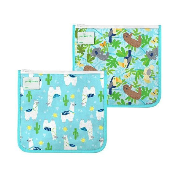 Green Sprouts Reusable Insulated Sandwich Bags 2 Pack Aqua Llamas Green Sprouts Reusable Sandwich Bags