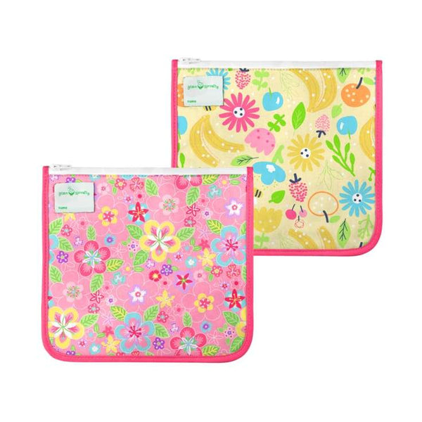 Green Sprouts Reusable Insulated Sandwich Bags 2 Pack Pink Flower Field Green Sprouts Reusable Sandwich Bags