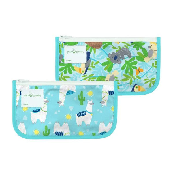 Green Sprouts Reusable Snack Bags 2 Pack Aqua Llamas Green Sprouts Reusable Snack Bags