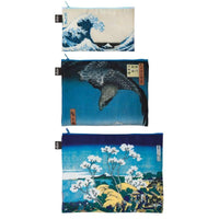 Loqi Zip Pocket (Set Of 3) Museum Collection Hokusai Loqi Pouches