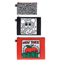 Loqi Zip Pocket (Set Of 3) Museum Collection Keith Haring Loqi Reusable Storage Bags