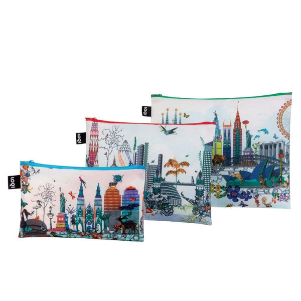 Loqi Zip Pocket (Set Of 3) World Skyline Loqi Pouches