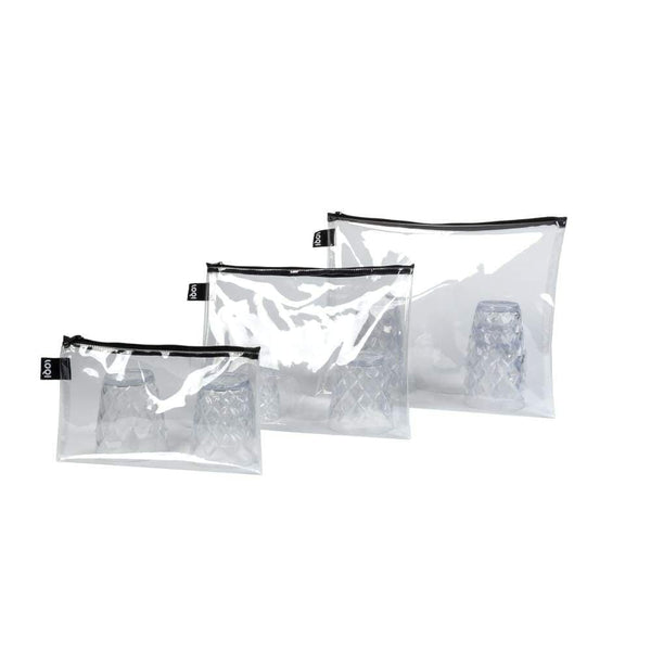 Loqi Zip Pockets (Set Of 3) Transparent Default Loqi Pouches