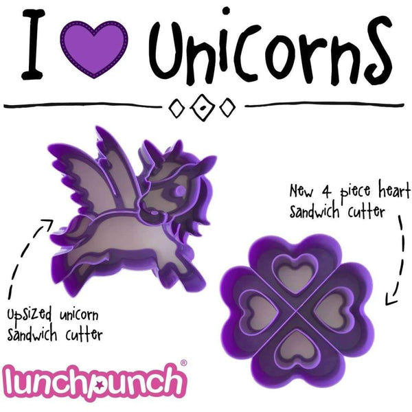 Lunch Punch®Pairs - I Love Unicorns (2Pack) Lunch Punch Sandwich Cutter