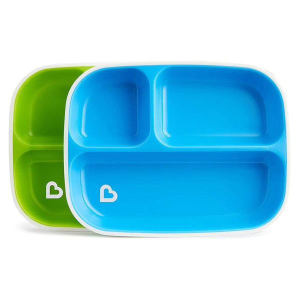 Munchkin Splash Divided Plates 2 Pack Blue and Green Munchkin Plate