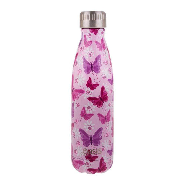 Oasis Stainless Steel Insulated Drink Bottle 500ml Butterflies Default Oasis Stainless Steel Water Bottle