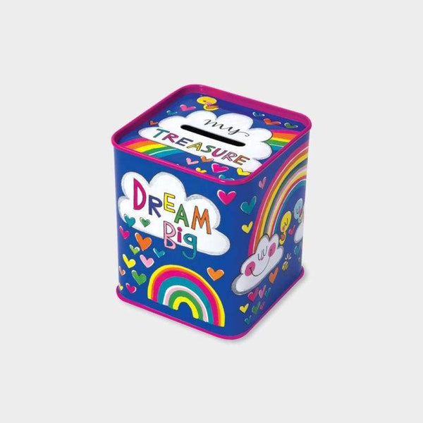 Rachel Ellen Money Box Tin Rainbow Dream Big Rachel Ellen Money Box