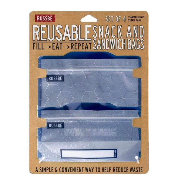 Russbe Reusable Sandwich / Snack Bags 4 pack Metallic Hexagon Default Russbe Reusable Snack Bags