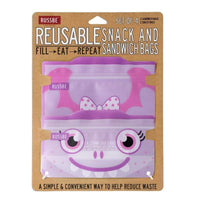 Russbe Reusable Sandwich / Snack Bags 4 pack Purple Monster Russbe Reusable Snack Bags