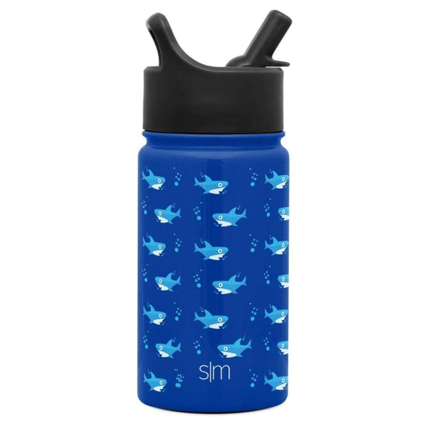 Summit Kids Insulated Stainless Steel Water Bottle with Straw Lid 14oz (400ml) Shark Bite Simple Modern Stainless Steel Water Bottle
