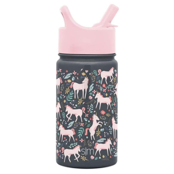 Summit Kids Insulated Stainless Steel Water Bottle with Straw Lid 14oz (400ml) Unicorn Fields Simple Modern Stainless Steel Water Bottle