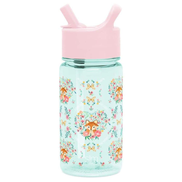 Summit Kids Tritan Plastic Water Bottle with Straw Lid 16oz (455ml) Fox and the Flower Simple Modern Plastic Water Bottle