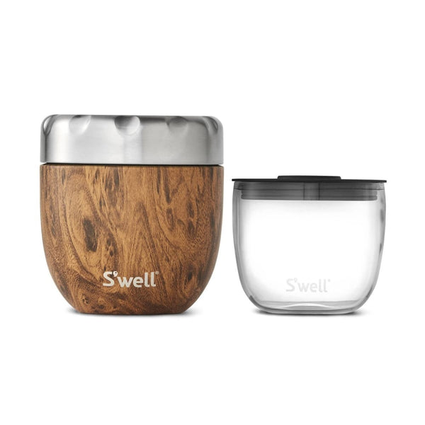 S'well Eats 2 in 1 Food Bowl Set Teakwood 21.5 oz (620ml) S'well Insulated Food Flask