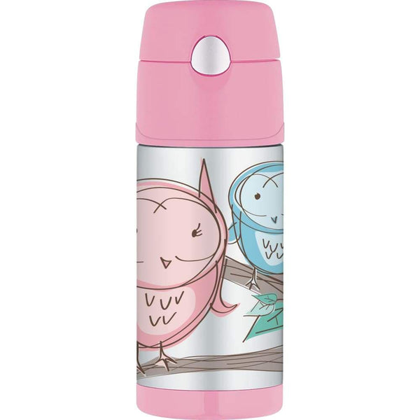Thermos Funtainer Stainless Steel Vacuum Insulated Straw Drink Bottle Pink Owl Thermos Water Bottle