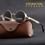 Polarized sunglasses, gold metal, punk style, gothic, unisex, protective screens. EY_S017