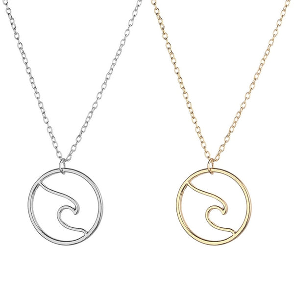 Silver Gold color Wave Surf Necklace