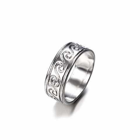 New Fashion Antique Silver Color Sea Wave Surfer Finger Ring